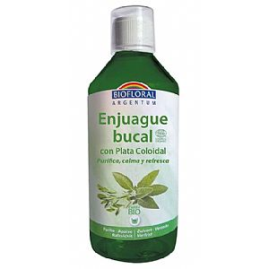 Enjuague bucal con plata coloidal sin flúor Biofloral 500 ml.